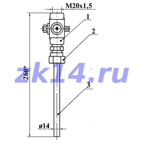 Закладная конструкция ЗК14-2-1-02 уст.1а 1,6-70-Ст.20-МП(11Б38бк) отборное устройство давления прямое на t до 70°С, Pу1,6МПа