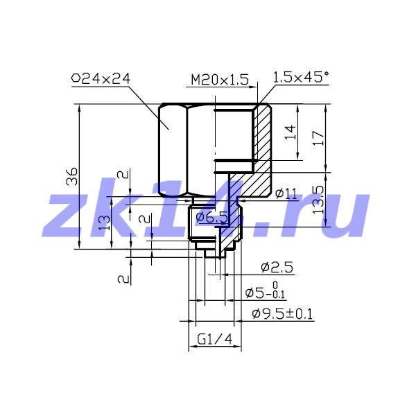 Штуцер переходный М10х1(В)-М20х1,5(Н) Ст.20