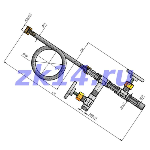 Отборное устройство давления прямое 16-200П-РШНТН-Ст.20(15с54бк,15с54бк)
