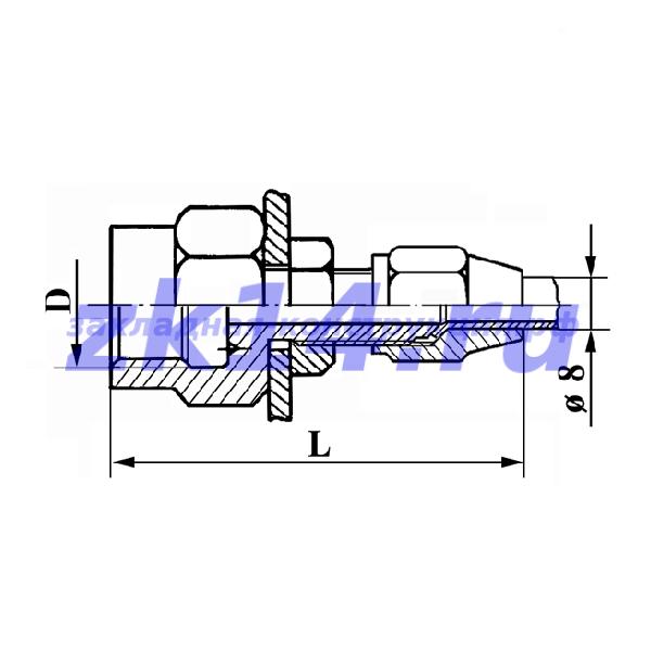 Соединения медных труб с развальцовкой, навертное СМПН8-М12