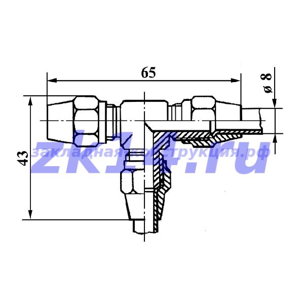 Соединение медных труб с развальцовкой, тройниковое СМТ-8