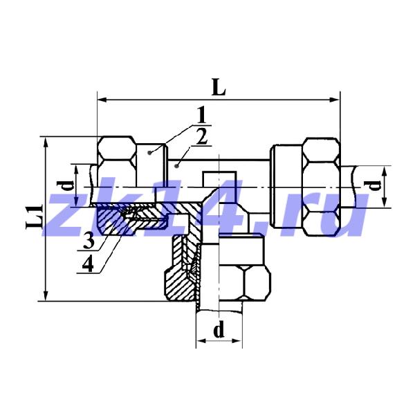 Соединение тройниковое проходное с зажимным и упорным кольцами СТ-10 Ст.09Г2С