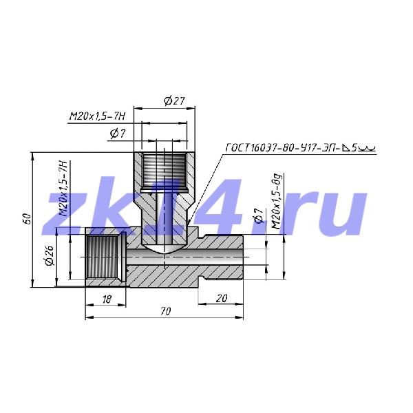 Соединение тройниковое ввертное СТВ М20х1,5 Ст.20 (сварной)