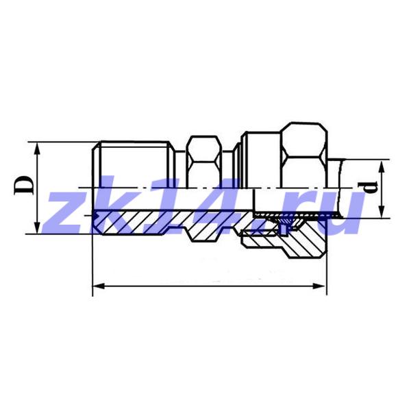 Соединение ввертное с зажимным и упорным кольцами СВ12-М20х1,5 12Х18Н10Т
