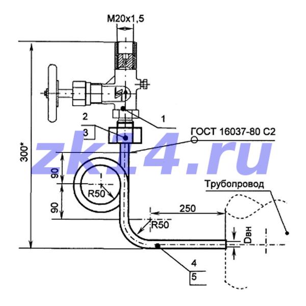 Закладная конструкция ЗК14-2-19-2009 С10-150У отборное устройство давления угловое на t свыше 70°С