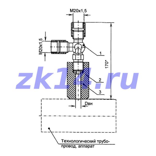 Закладная конструкция ЗК14-2-2-2009 МК1,6-150П КТНМ-1,6 отборное устройство давления прямое на t до 70°С