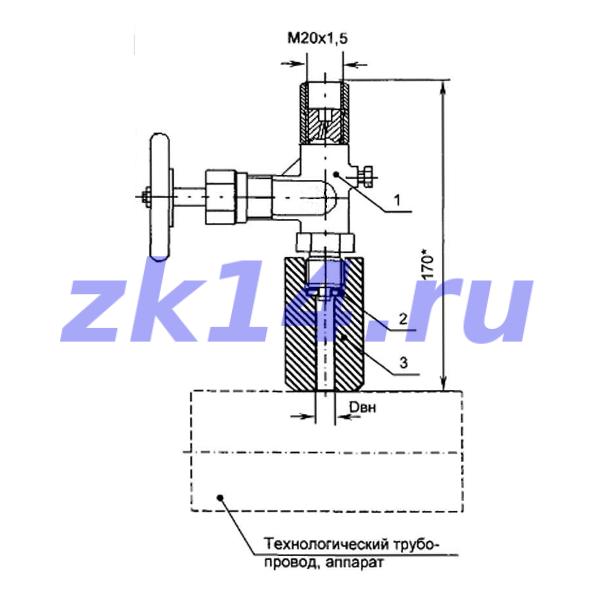 Закладная конструкция ЗК14-2-4-2009 С40-150П отборное устройство давления прямое на t до 70°С