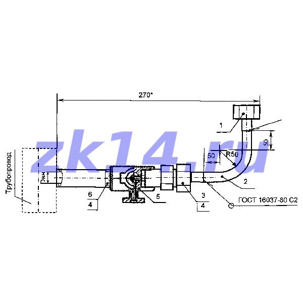 Закладная конструкция ЗК14-2-7-2009 МК1,6-130У отборное устройство давления угловое на t до 70°С