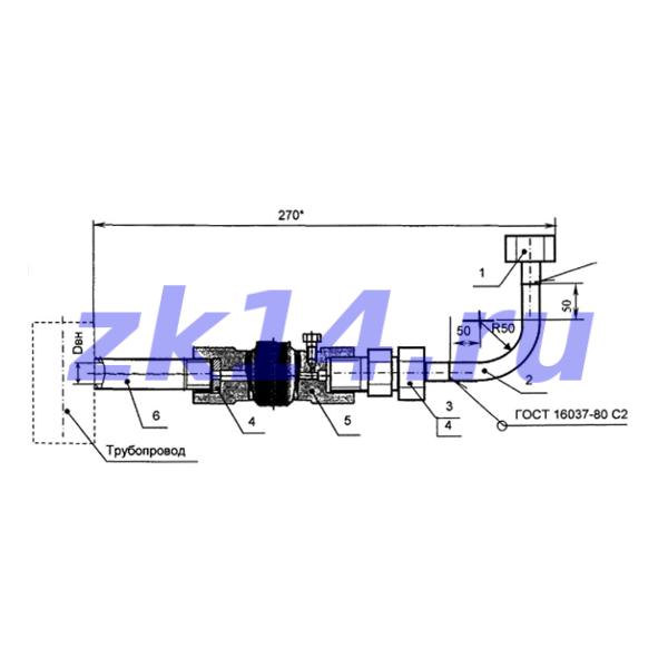 Закладная конструкция ЗК14-2-9-2009 С16-200У-Ст.20(15с54бк) отборное устройство давления угловое на t до 70°С