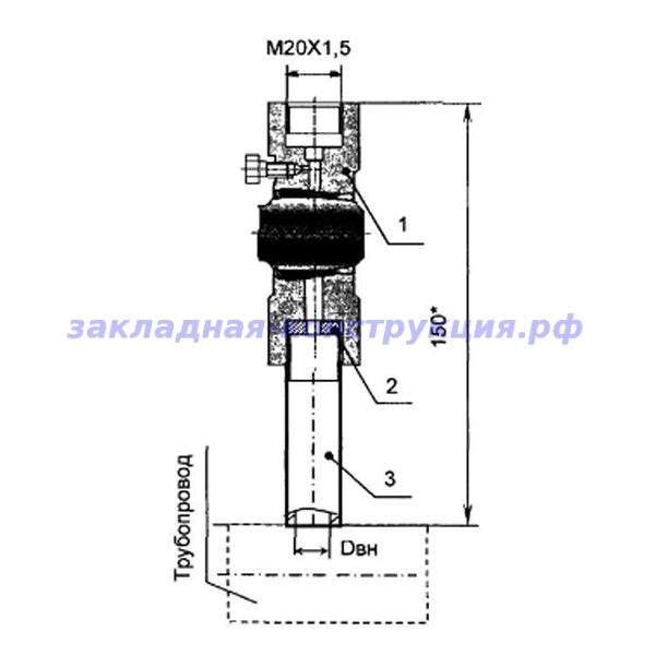 Закладная конструкция ЗК14-2-3-2009 С16-200П отборное устройство давления прямое на t до 70°С